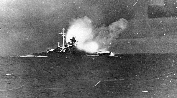 Bismarck opens fire