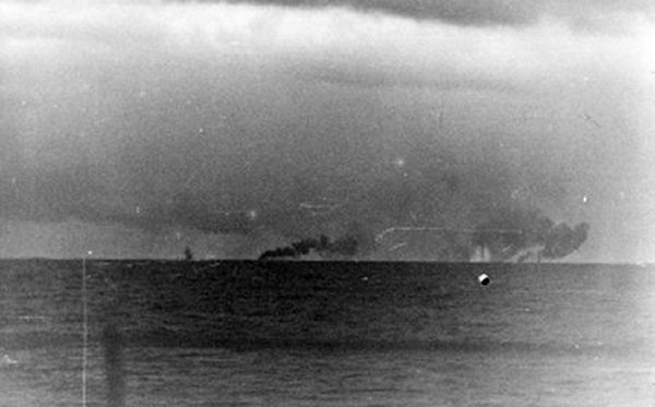 HMS Prince of Wales under fire